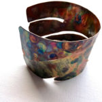 Hammered texturized copper bangle