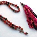 Boho chic sari necklace