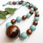 Recycled wood turquoise necklace