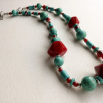 Red turquoise boho necklace with agate carnelian